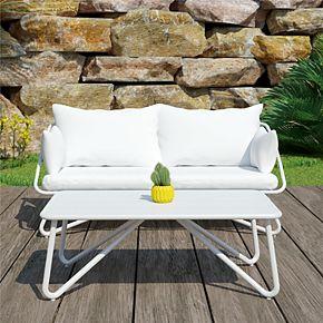 Novogratz Poolside Collection Teddi Outdoor Loveseat and Coffee Table