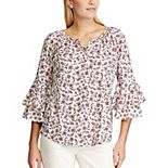 Women's Chaps Floral Ruffle Sleeve Blouse