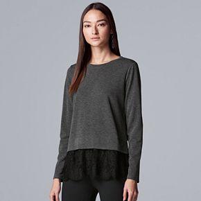 Petite Simply Vera Vera Wang Lace Hem Mock-Layer Top