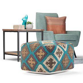 Simpli Home Ada Transitional Square Pouf in Multi-Color Kilim Pattern