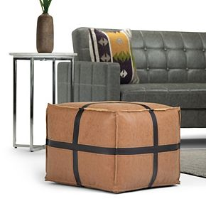 Simpli Home Anson Transitional Square Pouf in Brown Faux Leather