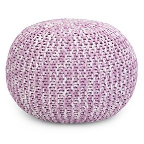 Simpli Home Ashlynn Contemporary Round Hand Knit Pouf