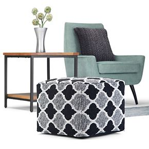 Simpli Home Currie Transitional Square Pouf