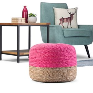 Simpli Home Lydia Contemporary Round Pouf
