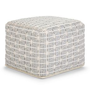 Simpli Home Noreen Transitional Square Pouf
