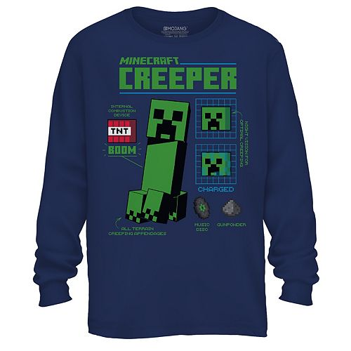Boys 8-20 Long Sleeve Minecraft Creeper Graphic Tee