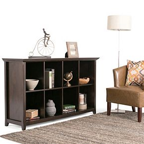 Simpli Home Amherst Transitional 8 Cube Bookcase Storage Sofa Table