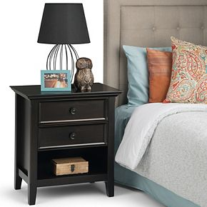 Simpli Home Amherst Traditional Bedside Nightstand Table