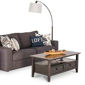 Simpli Home Amherst Rectangle Transitional Coffee Table