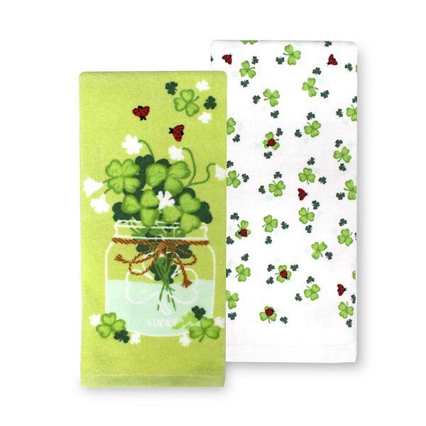 Celebrate St Patrick S Day Together Clover Jar Kitchen Towel 2 Pk