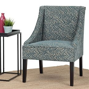 Simpli Home Hayworth 25 in. Wide Contemporary Accent Chair in Deep Azure Fabric, Fully Assembled
