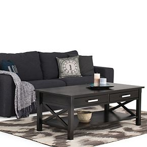 Simpli Home Kitchener Solid Wood 48 in. Wide Rectangle Contemporary Coffee Table