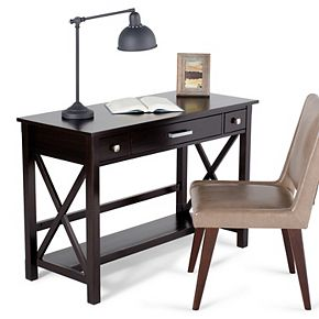 Simpli Home Kitchener Solid Wood Contemporary 47 in. Wide Writing Office Desk