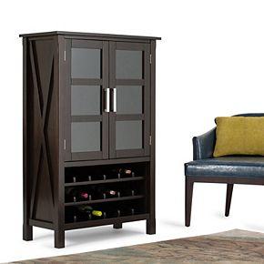 Simpli Home Kitchener 18-Bottle Contemporary High Storage Wine Rack Cabinet