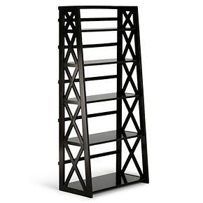 "Simpli Home Kitchener Solid Wood 63"" x 30"" Contemporary Ladder Shelf"