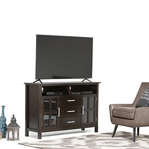 Simpli Home Kitchener Solid Wood 53 in. Wide Contemporary TV Media Stand