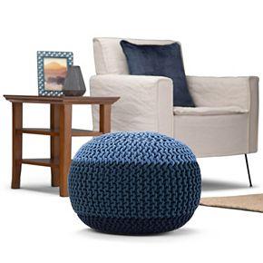 Simpli Home Nikki Contemporary Round Hand Knit Pouf