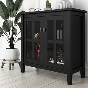 Simpli Home Warm Shaker Solid Wood 32 in. Wide Rustic Low Storage Cabinet