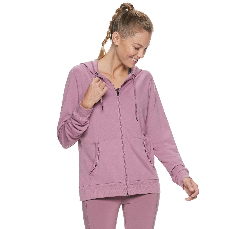 Women S Adrienne Vittadini Crochet Inset Zip Up Hoodie Kohls