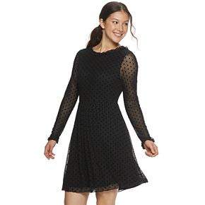 Juniors' American Rag Polka Dot Mesh Overlay Dress