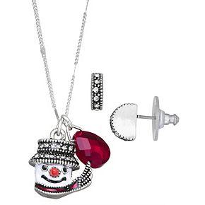 Napier Snowman Necklace & Earring Set