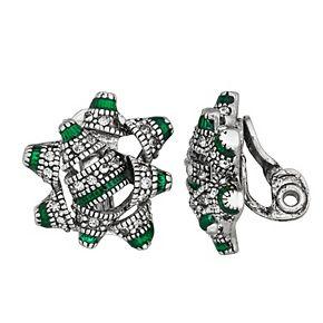 Napier Christmas Present Bow Clip-On Earrings