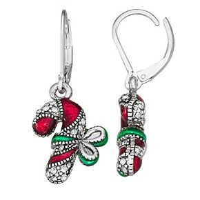 Napier Christmas Candy Cane Earrings