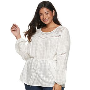 Juniors' Plus Size American Rag Lace Illusion Blouse