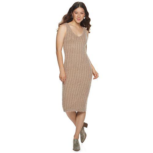 Juniors' Almost Famous Sleeveless Eyelash Rib Mini Dress