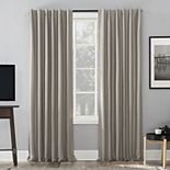Sun Zero Evelina Faux Dupioni Silk Extreme 100% Blackout Back Tab Window Curtain