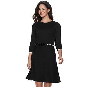 Women's ELLE? Scallop-Detail Sweater Dress