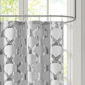 Intelligent Design Kaylee Metallic Scallop Shower Curtain