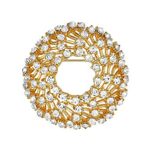 Napier Gold Tone Simulated Crystal Circle Pin