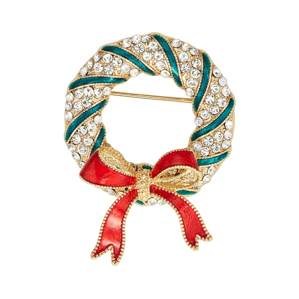 Napier Gold Tone Simulated Crystal Wreath with Bow Pin