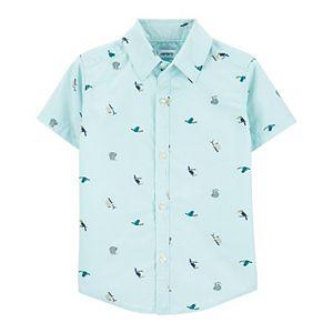 Baby Boy Carter's Animals Poplin Button Front Shirt