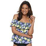 Women's A Shore Fit! Vintage Floral Off-The-Shoulder Flounce Tankini Top