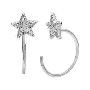 PRIMROSE Sterling Silver C-Hoop Cubic Zirconia Star Earrings