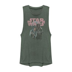 Juniors' Star Wars Han Solo And Chewie Logo Muscle Tank
