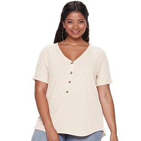 Juniors' Plus Size Liberty Love Everyday Henley Top