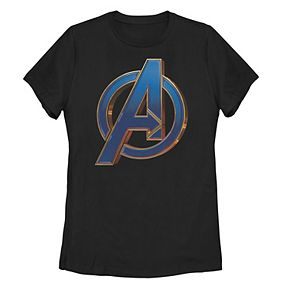 Juniors' Marvel Avengers Endgame Blue Logo Graphic Tee