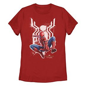 Juniors' Marvel Spider-Man Far From Home Painted Logo Graphic Tee