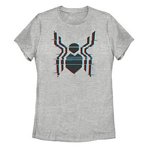 Juniors' Marvel Spider-Man Far From Home Glitch Logo Graphic Tee