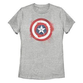 Juniors' Marvel Captain America Spray Paint Logo Graphic Tee
