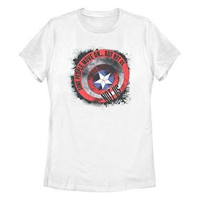 Juniors' Marvel Captain America Shield Quote Tee