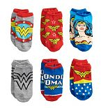 Girls Wonder Woman 6-Pack No-Show Socks