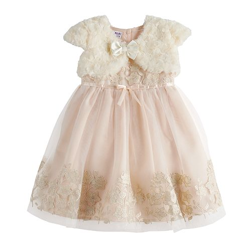 Toddler Girl Blueberi Boulevard Faux-Fur Bolero & Lace Dress Set