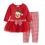 Baby Girl Blueberi Boulevard Reindeer Dress & Striped Leggings Set