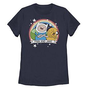 Juniors' Adventure Time Finn And Jake Rainbow Circle Portrait Tee