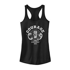 Juniors' Courage The Cowardly Dog Grey Scale Ghost Portrait Tank