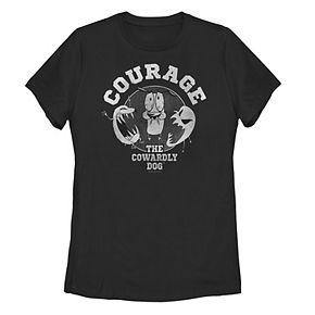 Juniors' Courage The Cowardly Dog Grey Scale Ghost Portrait Tee